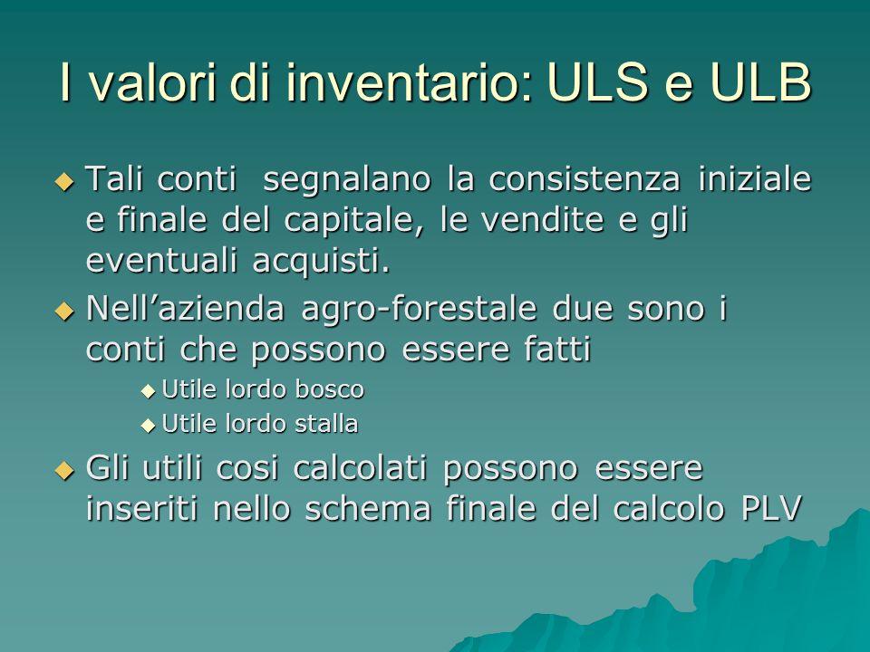 I valori di inventario: ULS e ULB