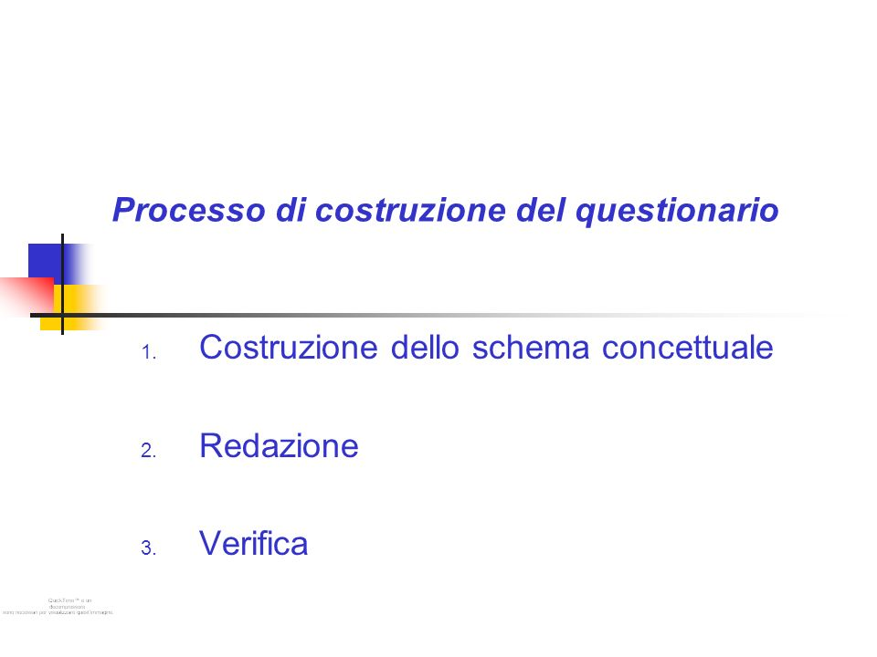 Processo di costruzione del questionario