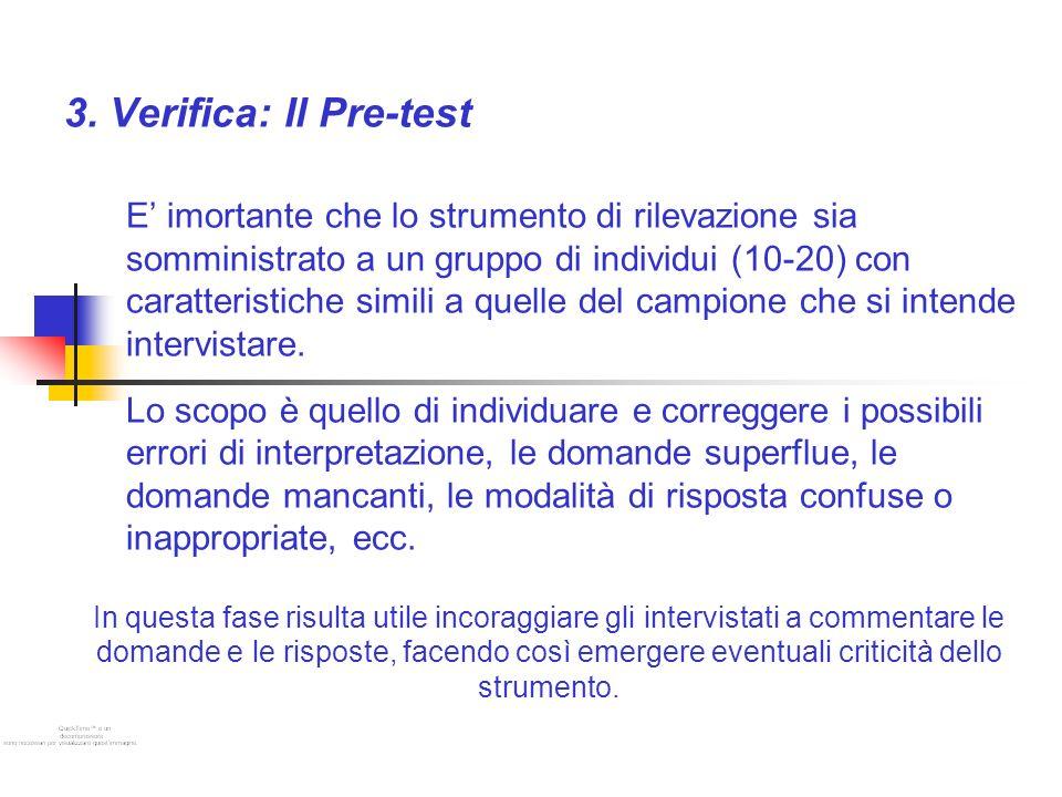 3. Verifica: Il Pre-test