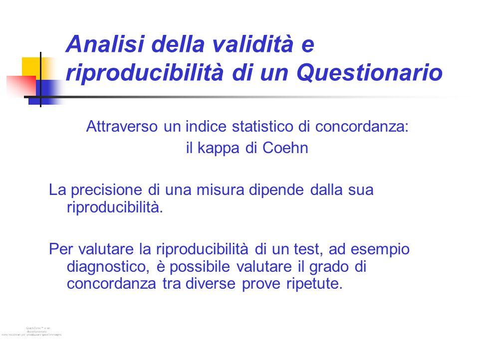 Analisi della validità e riproducibilità di un Questionario