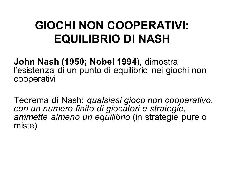 GIOCHI NON COOPERATIVI: EQUILIBRIO DI NASH