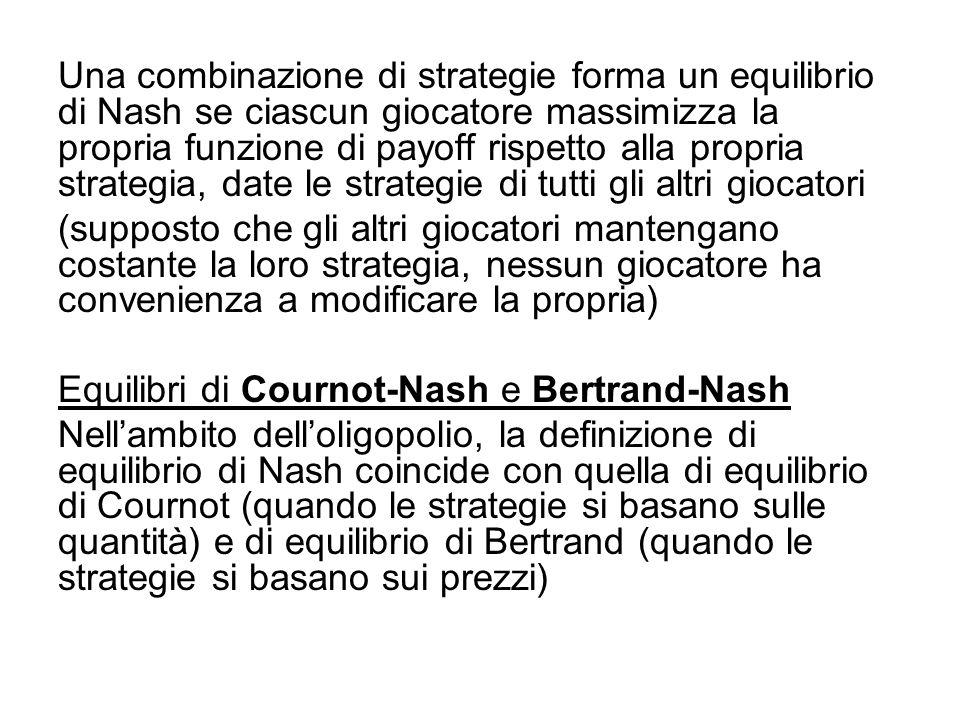 Una combinazione di strategie forma un equilibrio di Nash se ciascun giocatore massimizza la propria funzione di payoff rispetto alla propria strategia, date le strategie di tutti gli altri giocatori