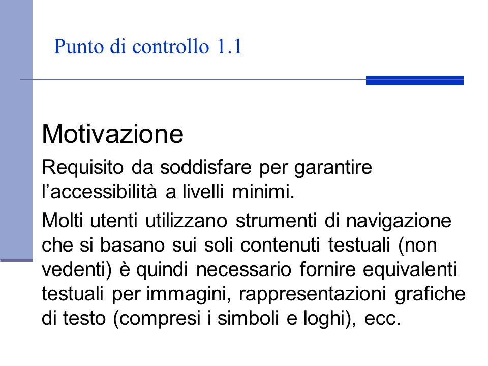 Motivazione Punto di controllo 1.1