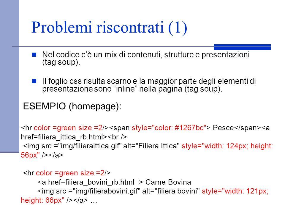 Problemi riscontrati (1)