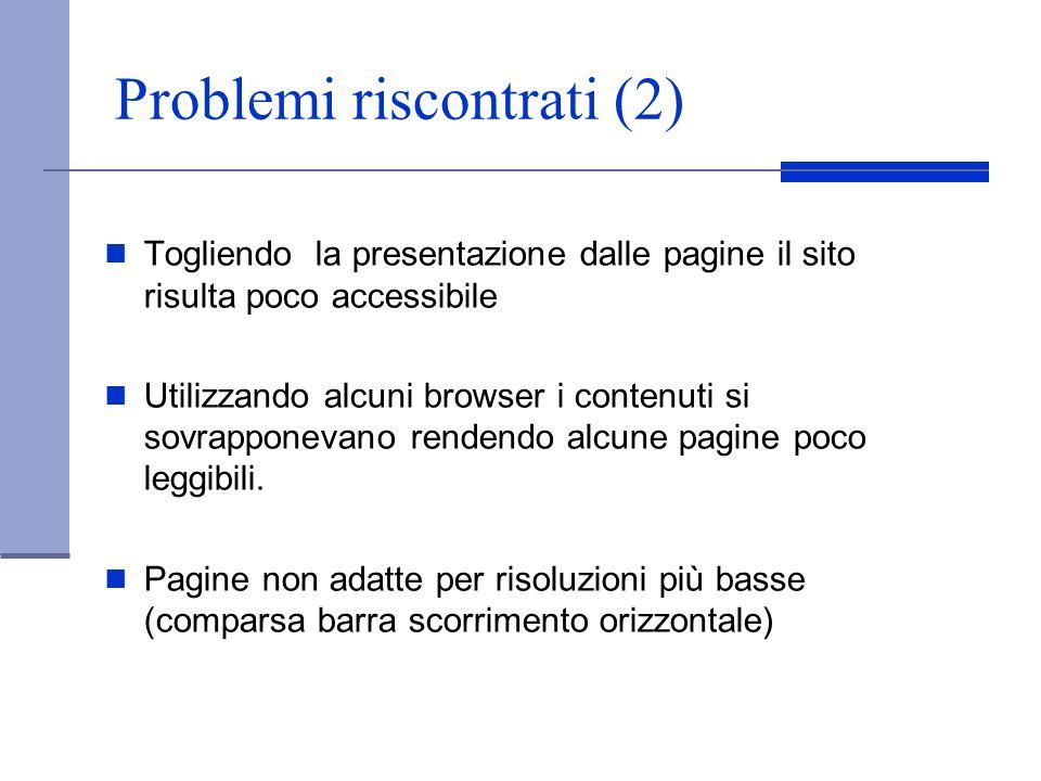 Problemi riscontrati (2)