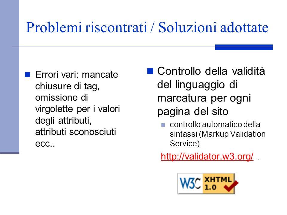Problemi riscontrati / Soluzioni adottate