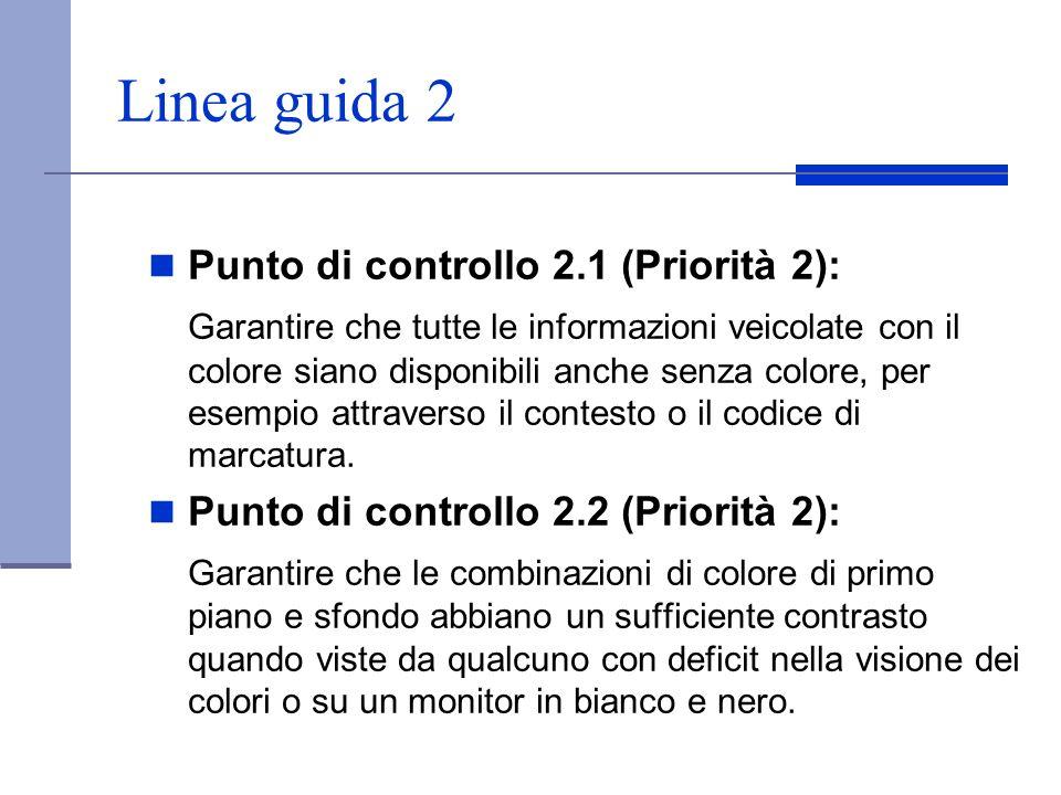 Linea guida 2 Punto di controllo 2.1 (Priorità 2):