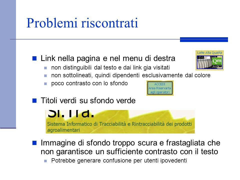 Problemi riscontrati Link nella pagina e nel menu di destra