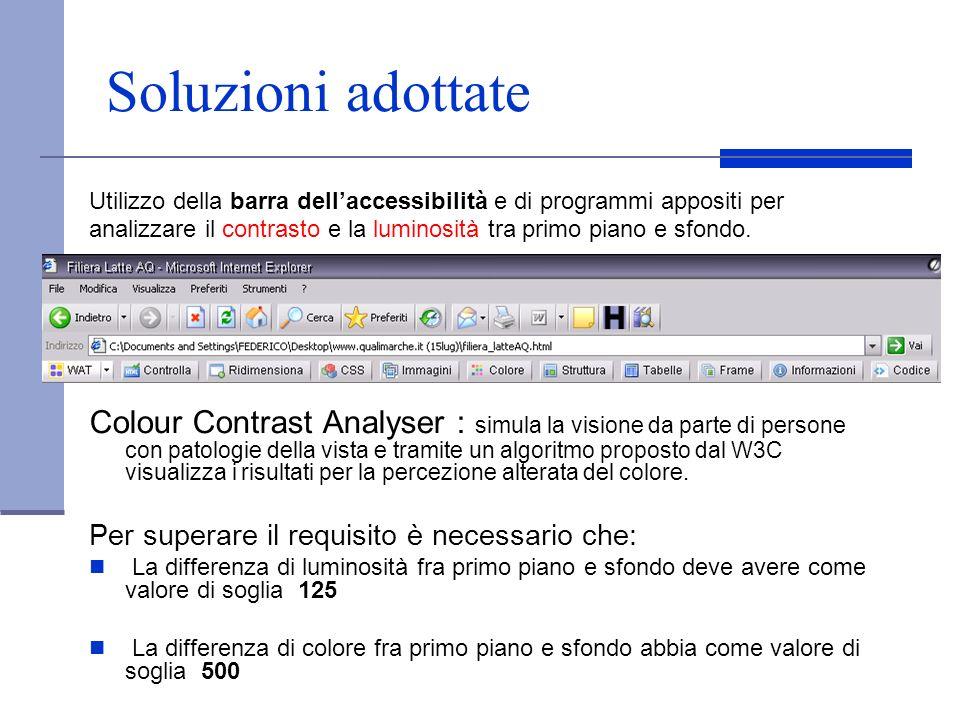 Soluzioni adottate Utilizzo della barra dell'accessibilità e di programmi appositi per.