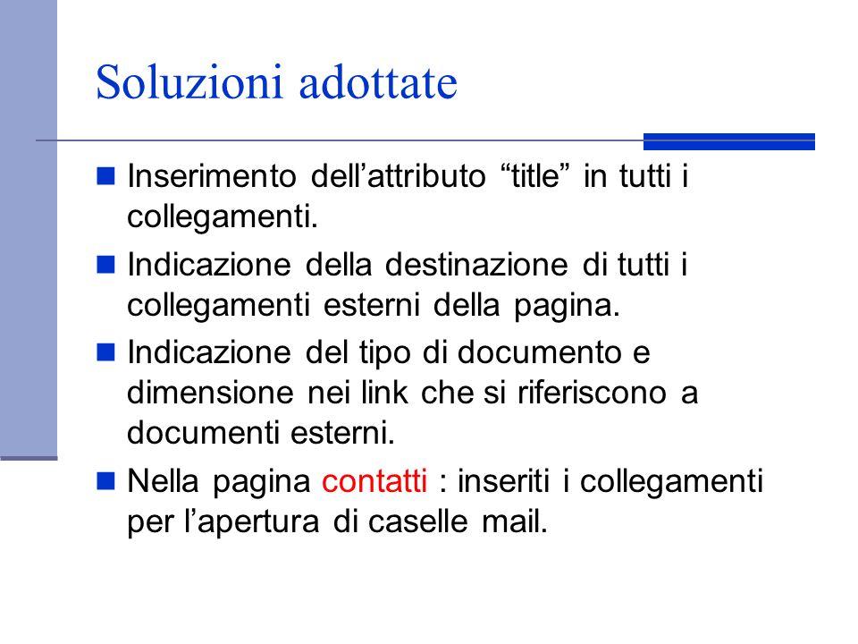 Soluzioni adottate Inserimento dell'attributo title in tutti i collegamenti.