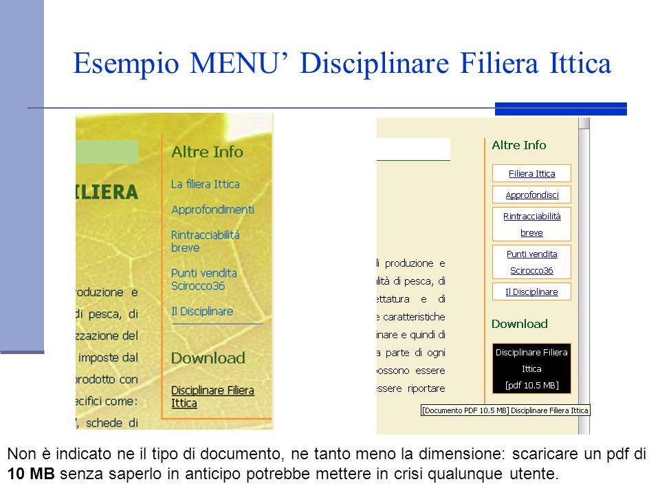 Esempio MENU' Disciplinare Filiera Ittica