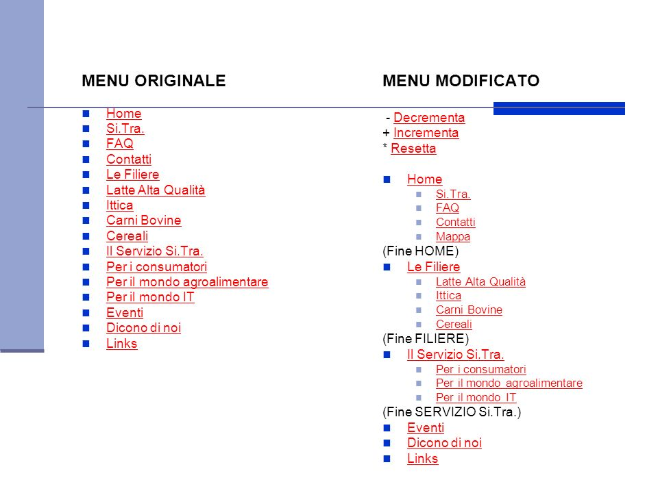 MENU ORIGINALE MENU MODIFICATO Home Si.Tra. FAQ Contatti Le Filiere