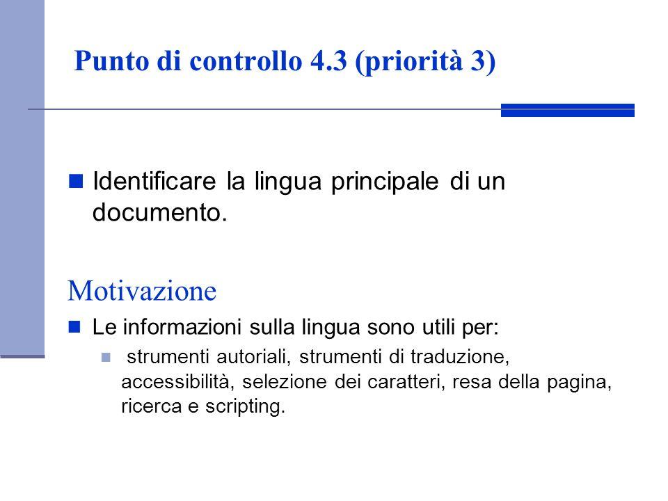 Punto di controllo 4.3 (priorità 3)