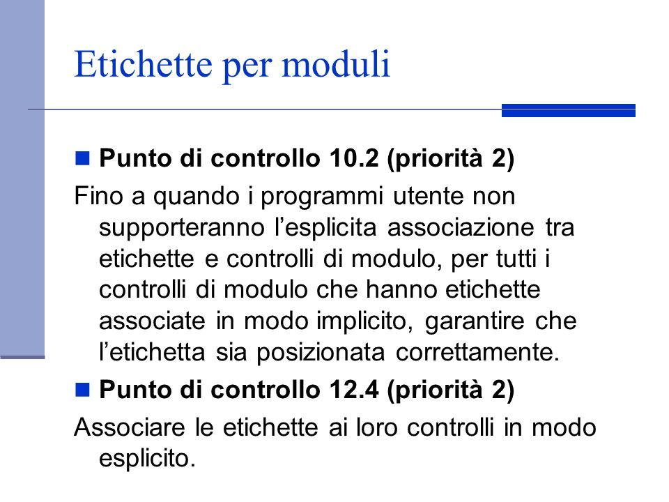 Etichette per moduli Punto di controllo 10.2 (priorità 2)