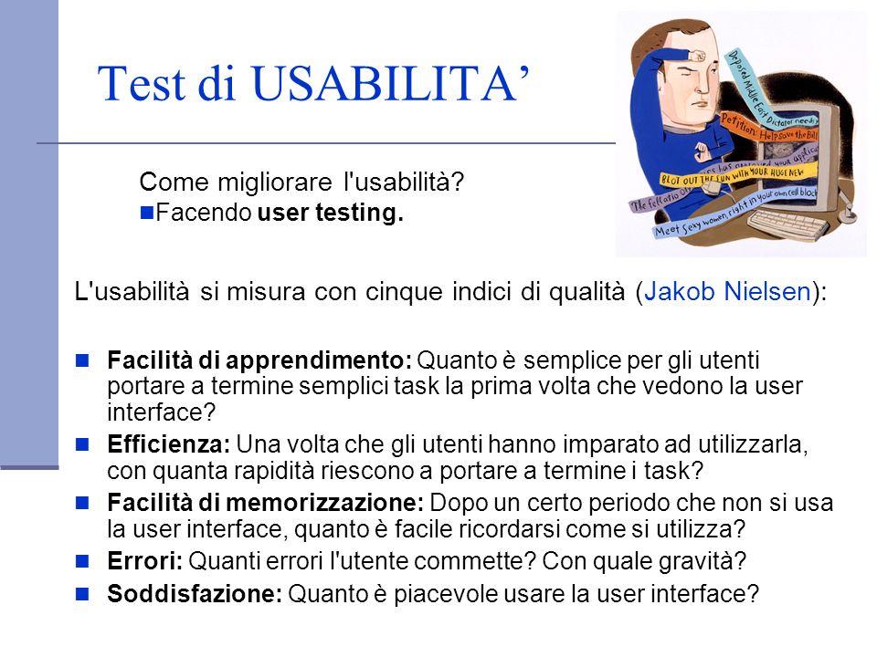 Test di USABILITA' Come migliorare l usabilità