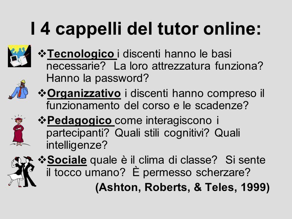 I 4 cappelli del tutor online: