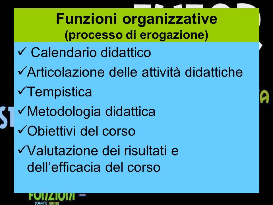 Funzioni organizzative (processo di erogazione)