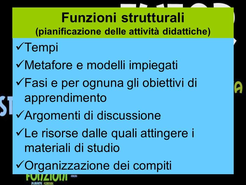 Funzioni strutturali (pianificazione delle attività didattiche)