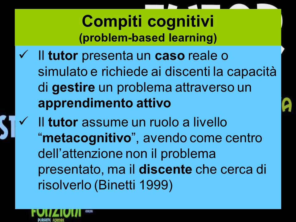 Compiti cognitivi (problem-based learning)