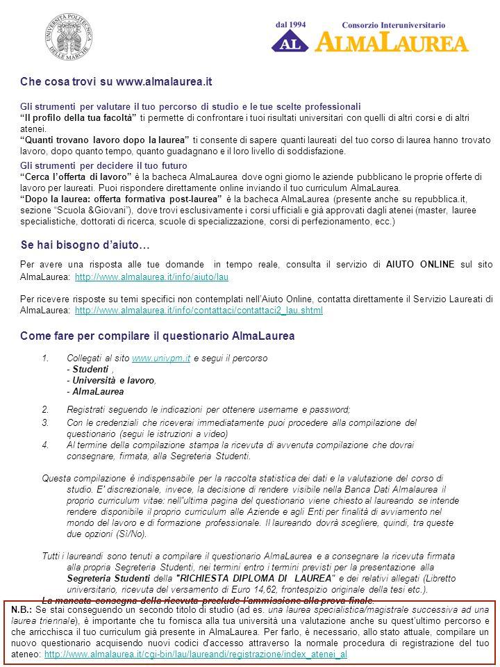 Che cosa trovi su www.almalaurea.it