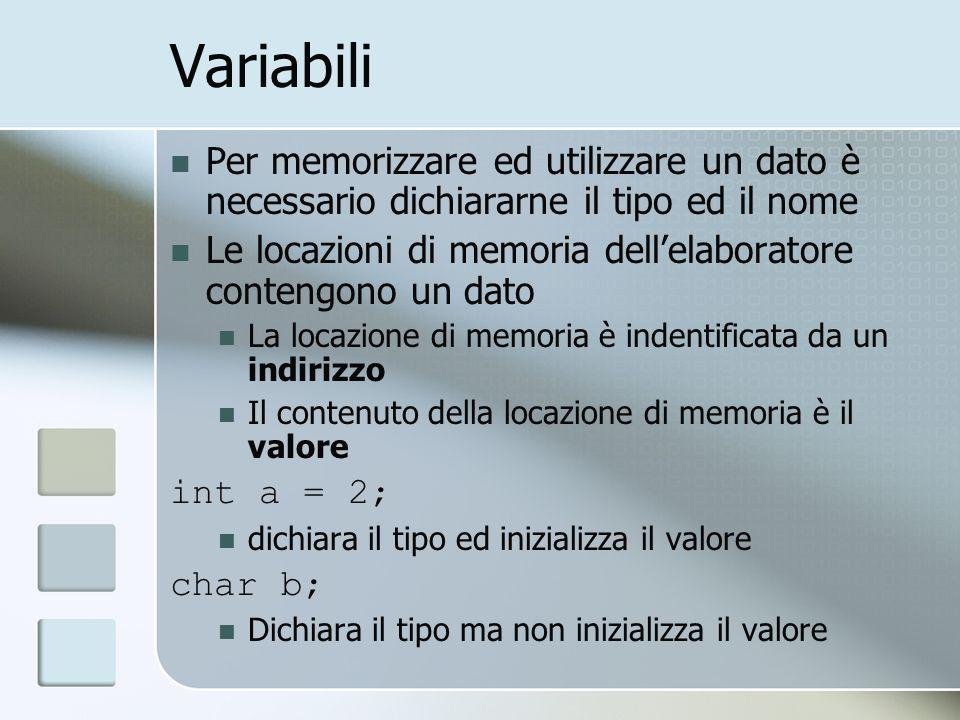 VariabiliPer memorizzare ed utilizzare un dato è necessario dichiararne il tipo ed il nome.