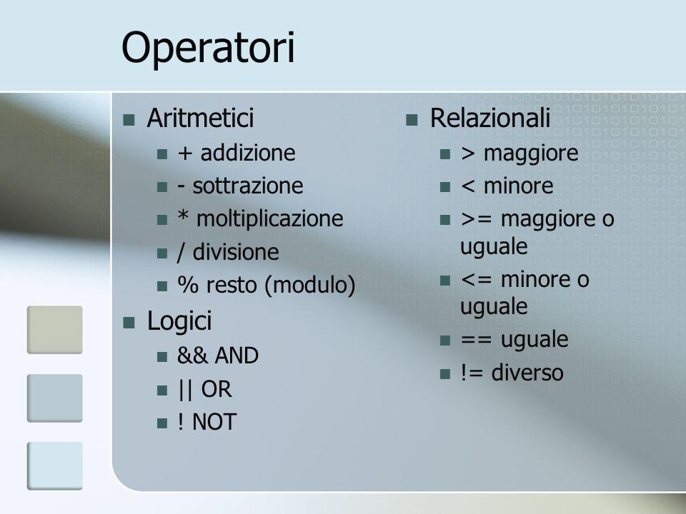 Operatori Aritmetici Logici Relazionali + addizione - sottrazione