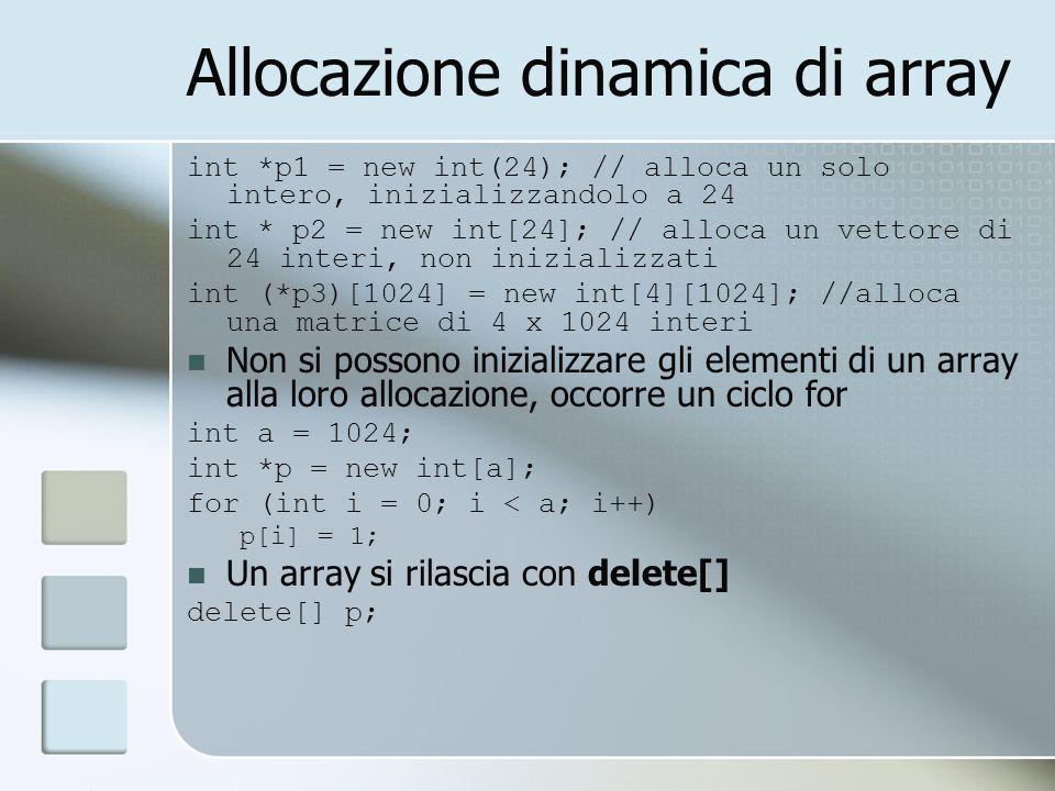Allocazione dinamica di array