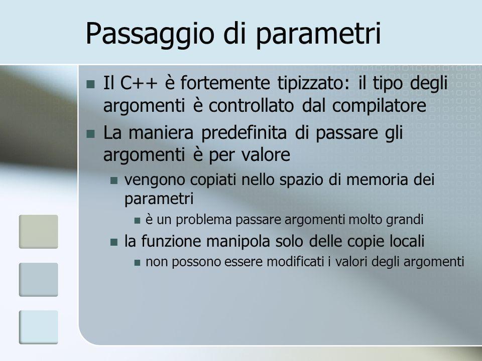 Passaggio di parametri