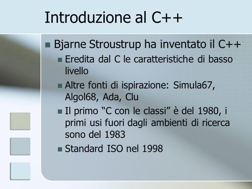 Introduzione al C++ Bjarne Stroustrup ha inventato il C++