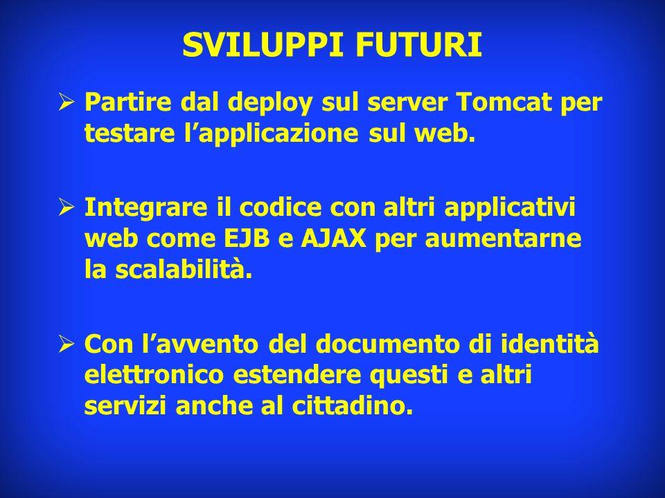 SVILUPPI FUTURI Partire dal deploy sul server Tomcat per testare l'applicazione sul web.