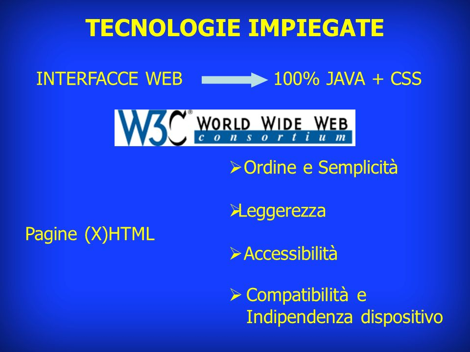 TECNOLOGIE IMPIEGATE INTERFACCE WEB 100% JAVA + CSS