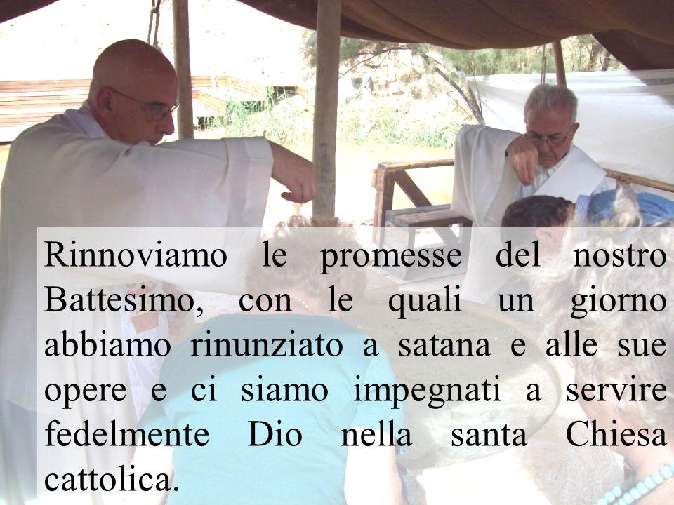 Rinnoviamo le promesse del nostro Battesimo, con le quali un giorno abbiamo rinunziato a satana e alle sue opere e ci siamo impegnati a servire fedelmente Dio nella santa Chiesa cattolica.