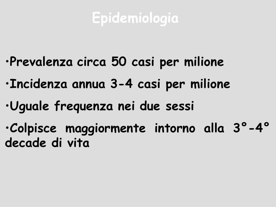 Epidemiologia Prevalenza circa 50 casi per milione