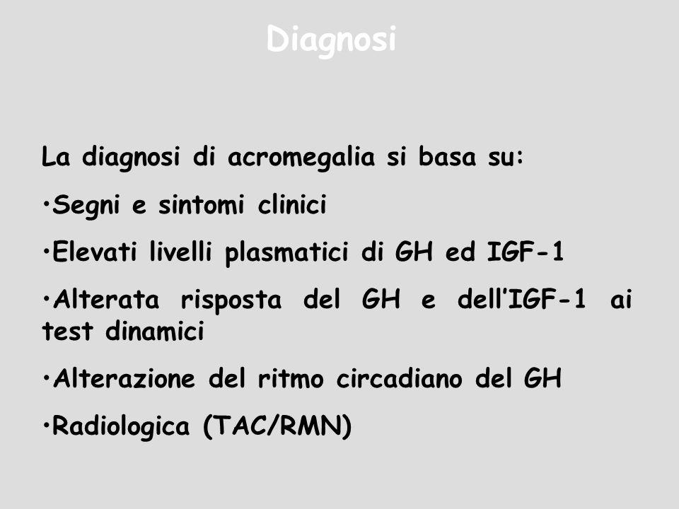 Diagnosi La diagnosi di acromegalia si basa su: