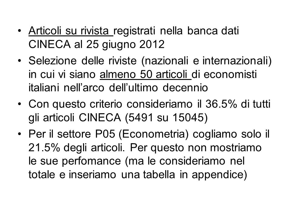 Articoli su rivista registrati nella banca dati CINECA al 25 giugno 2012