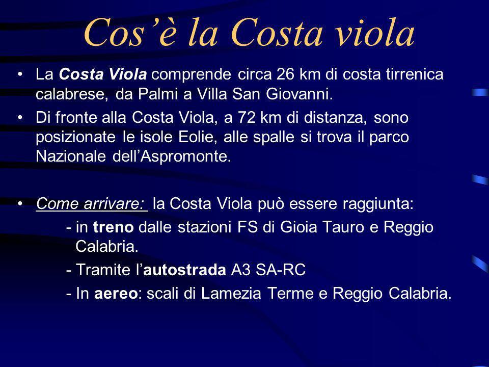 Cos'è la Costa viola La Costa Viola comprende circa 26 km di costa tirrenica calabrese, da Palmi a Villa San Giovanni.