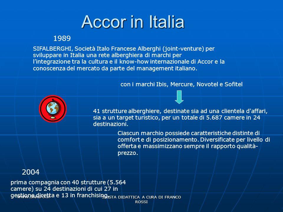 Accor in Italia 1989. SIFALBERGHI, Società Italo Francese Alberghi (joint-venture) per sviluppare in Italia una rete alberghiera di marchi per.