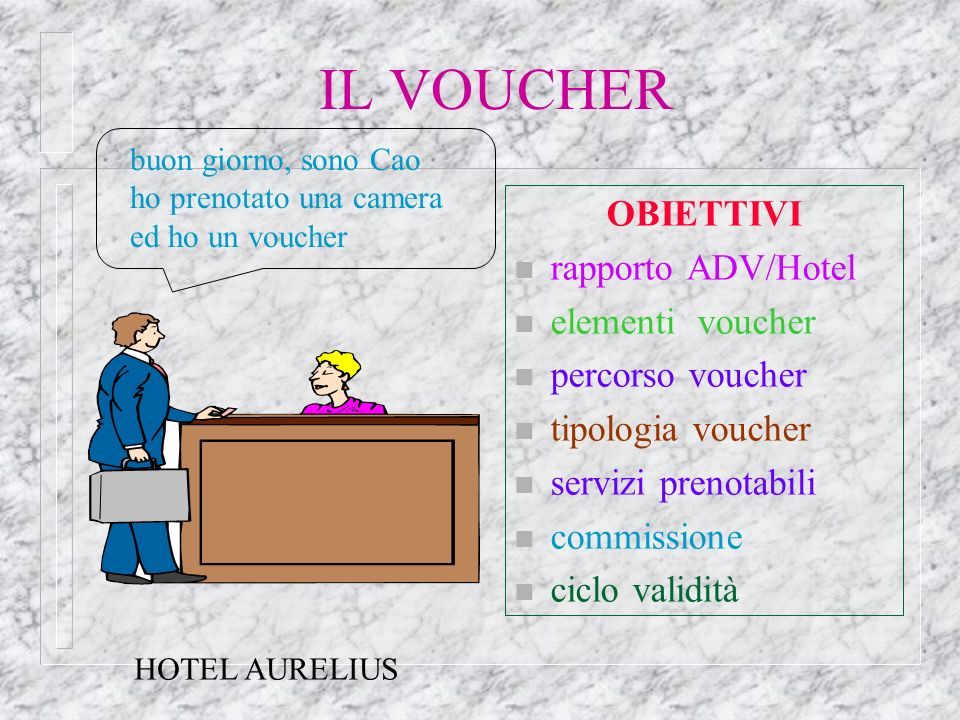 IL VOUCHER OBIETTIVI rapporto ADV/Hotel elementi voucher