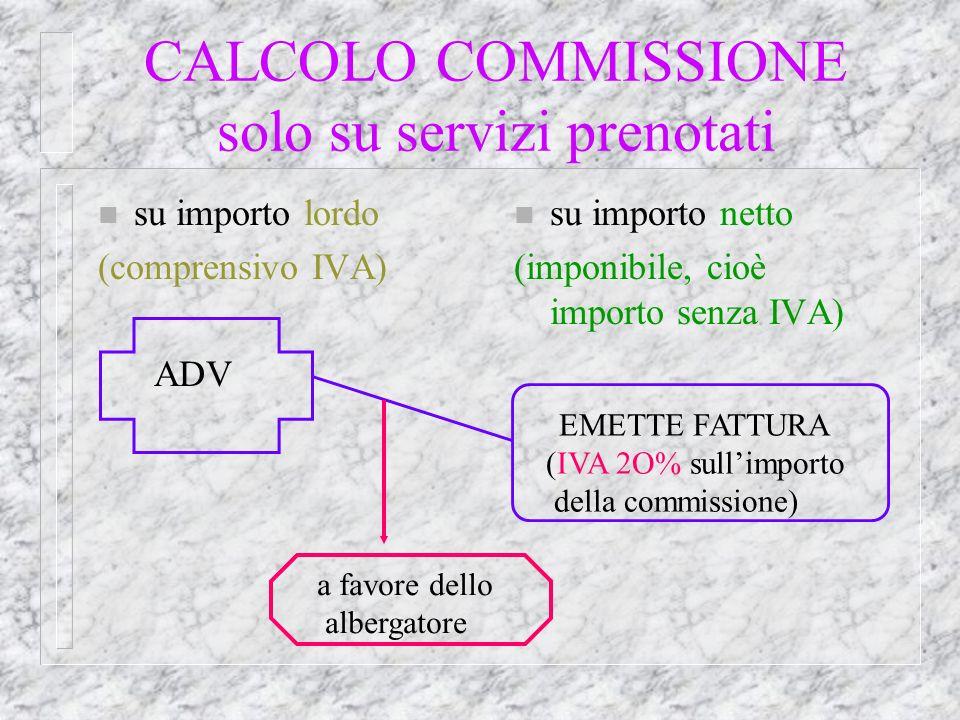 CALCOLO COMMISSIONE solo su servizi prenotati