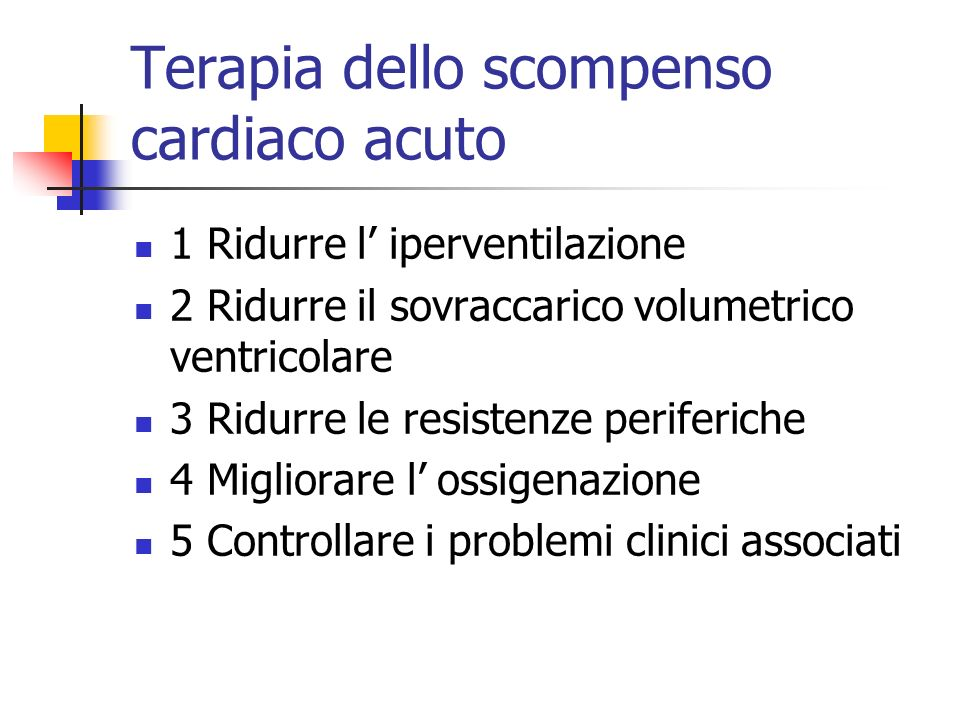 Terapia dello scompenso cardiaco acuto