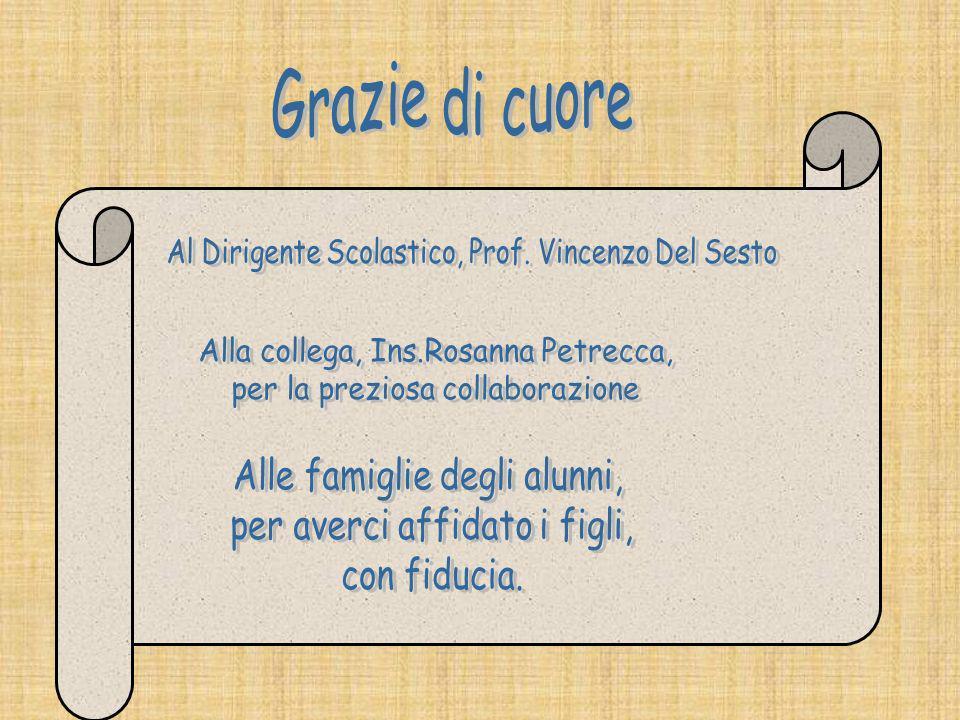 Grazie di cuore Al Dirigente Scolastico, Prof. Vincenzo Del Sesto