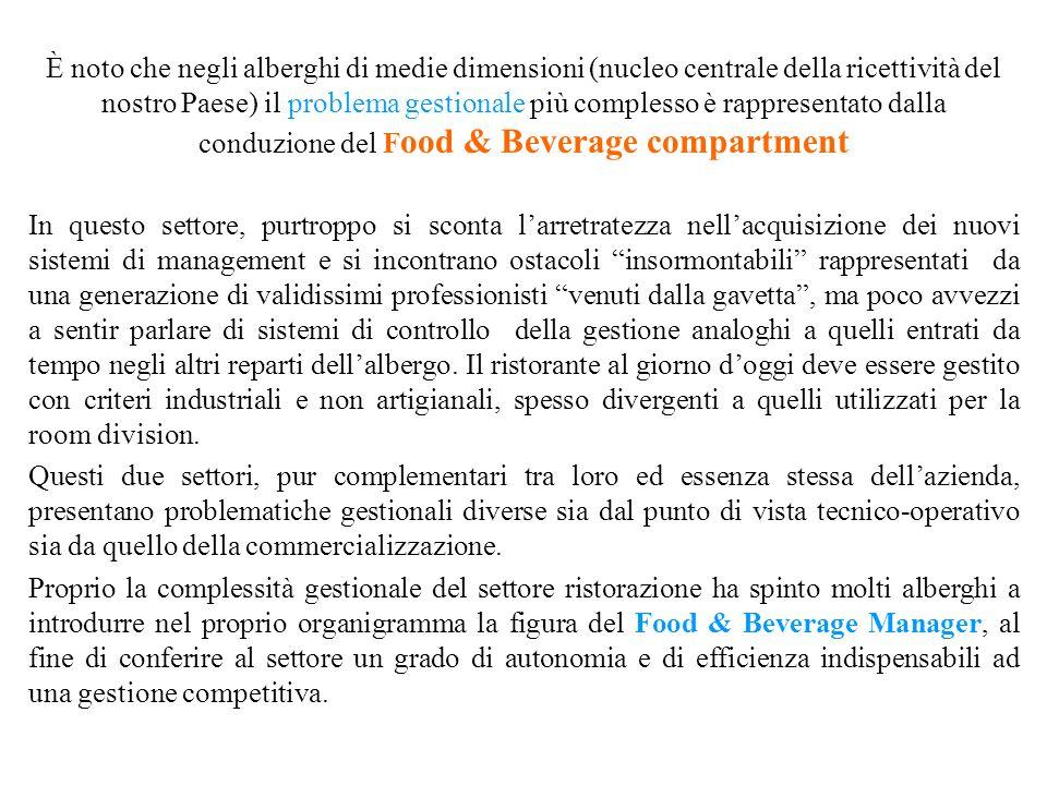 È noto che negli alberghi di medie dimensioni (nucleo centrale della ricettività del nostro Paese) il problema gestionale più complesso è rappresentato dalla conduzione del Food & Beverage compartment