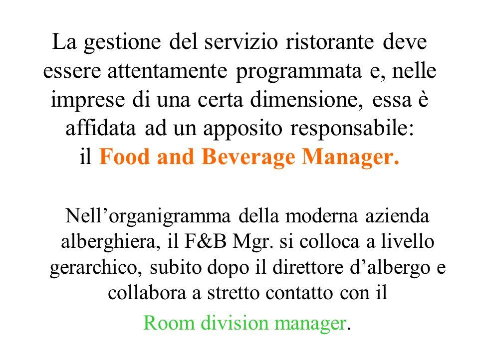 La gestione del servizio ristorante deve essere attentamente programmata e, nelle imprese di una certa dimensione, essa è affidata ad un apposito responsabile: il Food and Beverage Manager.