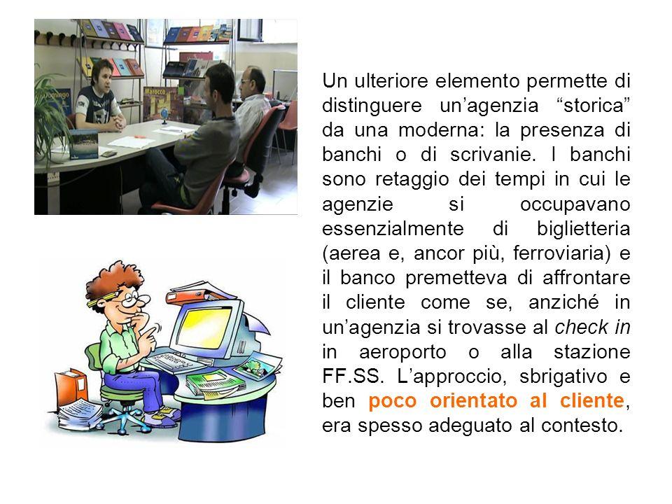 Un ulteriore elemento permette di distinguere un'agenzia storica da una moderna: la presenza di banchi o di scrivanie.