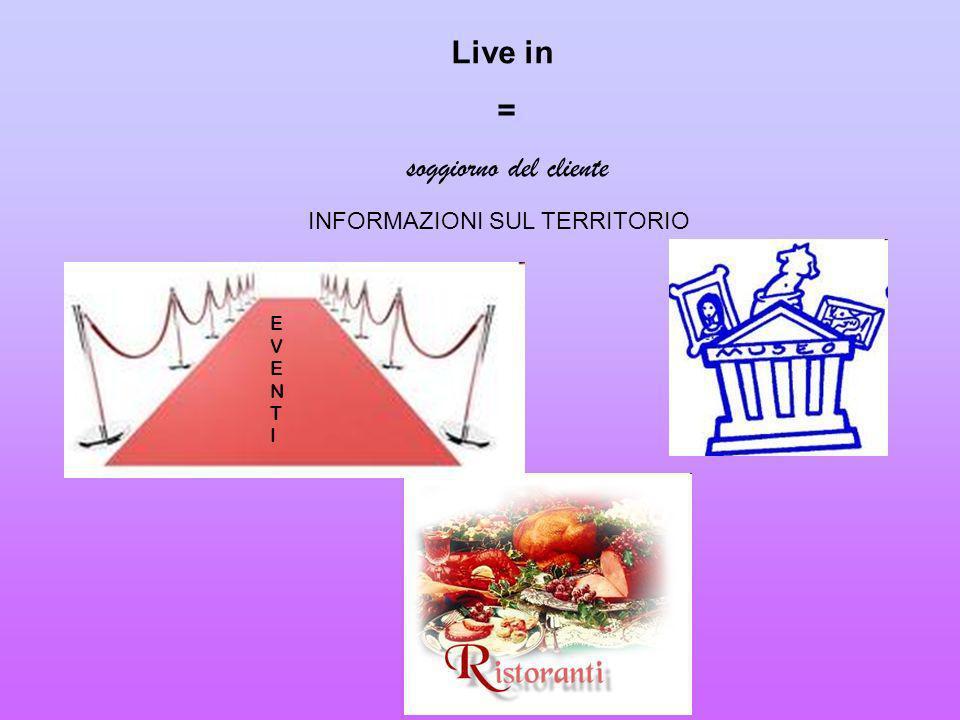 Live in = soggiorno del cliente INFORMAZIONI SUL TERRITORIO EVENT I