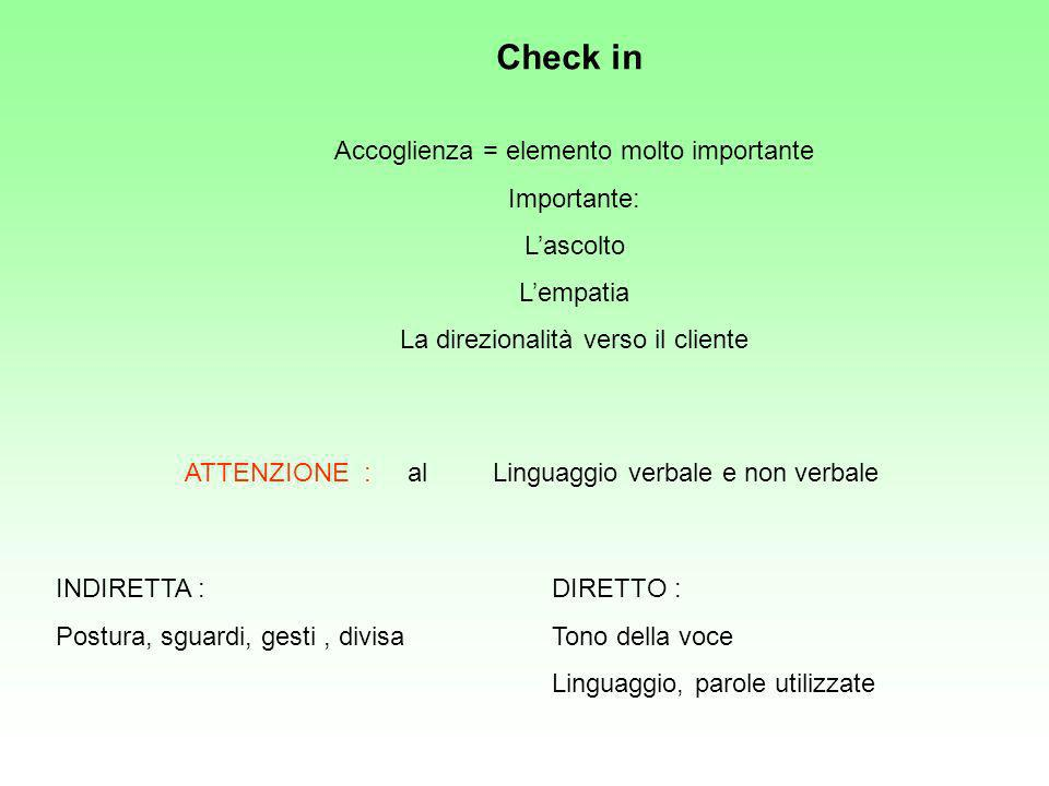 Check in Accoglienza = elemento molto importante Importante: L'ascolto