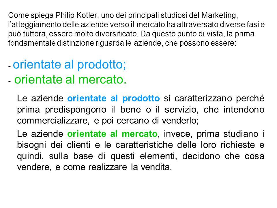 Come spiega Philip Kotler, uno dei principali studiosi del Marketing, l'atteggiamento delle aziende verso il mercato ha attraversato diverse fasi e può tuttora, essere molto diversificato. Da questo punto di vista, la prima fondamentale distinzione riguarda le aziende, che possono essere: - orientate al prodotto; - orientate al mercato.