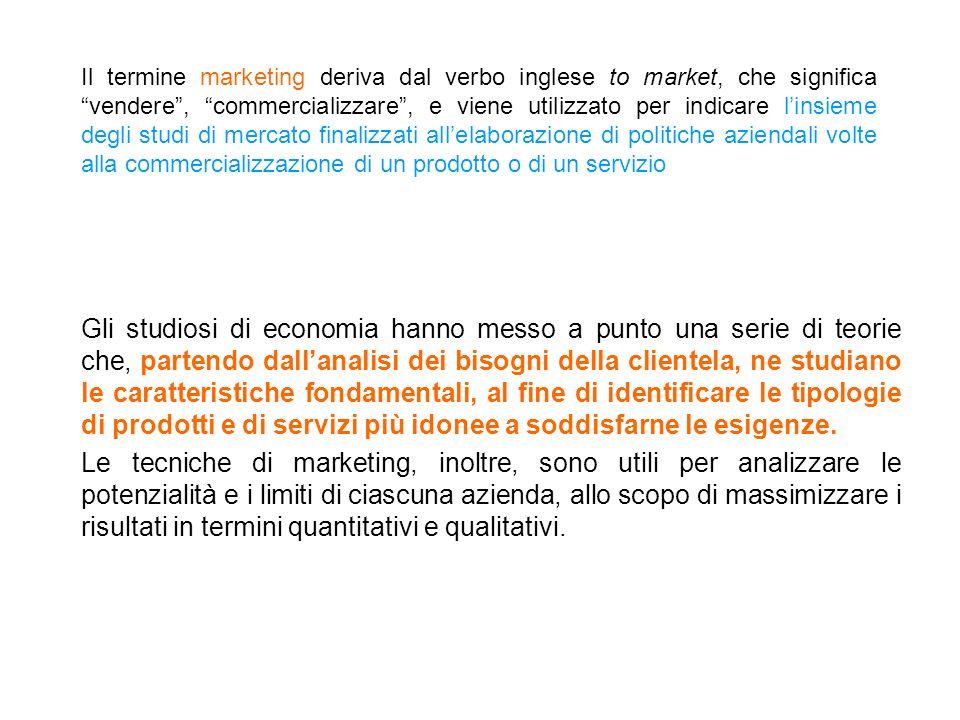 Il termine marketing deriva dal verbo inglese to market, che significa vendere , commercializzare , e viene utilizzato per indicare l'insieme degli studi di mercato finalizzati all'elaborazione di politiche aziendali volte alla commercializzazione di un prodotto o di un servizio
