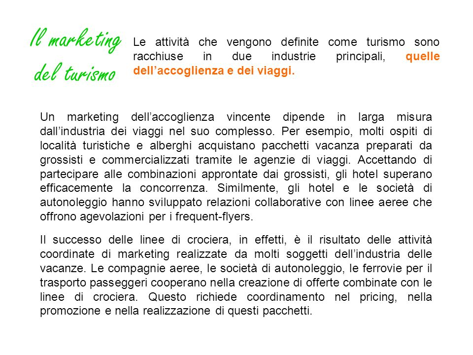 Il marketing del turismo