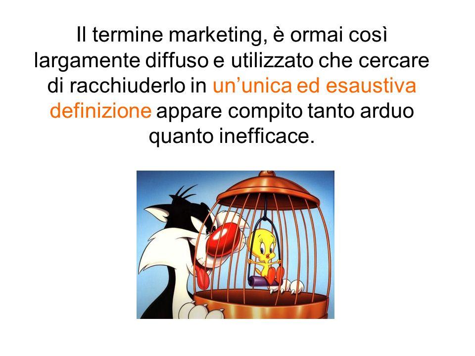 Il termine marketing, è ormai così largamente diffuso e utilizzato che cercare di racchiuderlo in un'unica ed esaustiva definizione appare compito tanto arduo quanto inefficace.